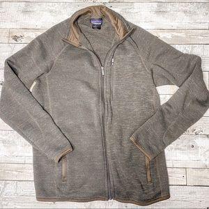 Patagonia zip front dark greenish brown jacket